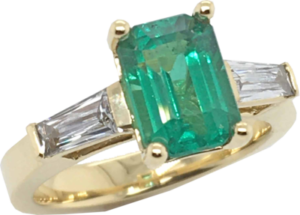 Emerald and French Cut Diamond Engagement Ring