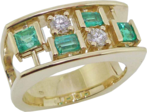 Wide Diamond and Emerald Ring
