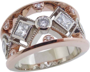 Wide Rose Gold and Princess Cut Diamond Ring