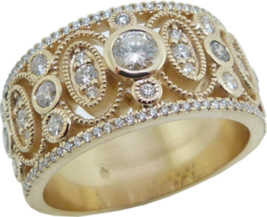 Wide Vintage Inspired Diamond Ring