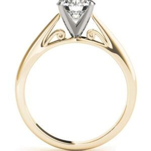 14k yellow and white gold solitaire engagement ring.