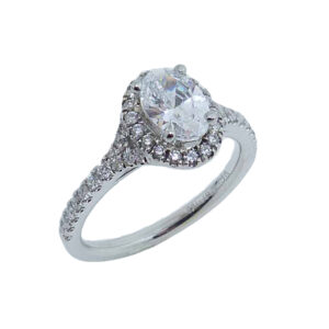 14 karat white split-shank oval halo engagement ring accented by 44 = 0.32cttw G/H, VS-SI, round brilliant cut diamonds. This unique design is a great alternative to a traditional halo ring. Priced without a center gemstone. Let us find you the perfect center that fits your tastes and budget!