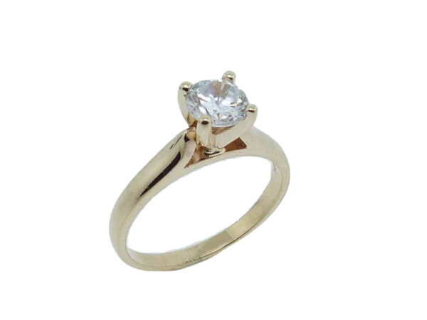 14K yellow gold solitaire engagement ring. Priced without a center gemstone. Let us find you the perfect center that fits your tastes and budget!