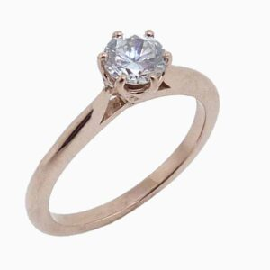 14K rose gold six claw solitaire engagement ring.