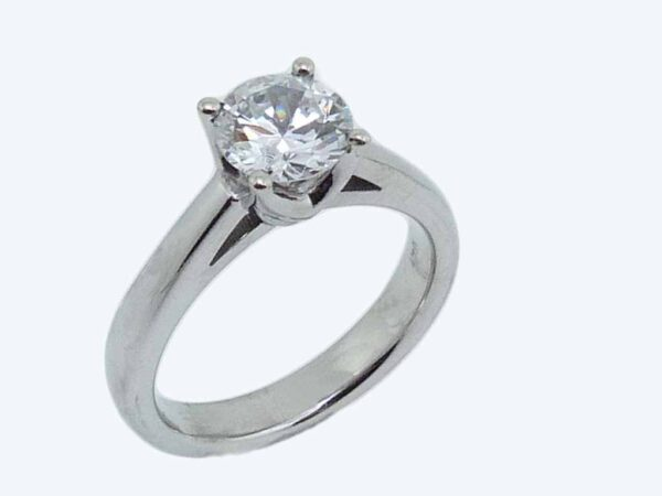 14K white gold solitaire engagement ring.