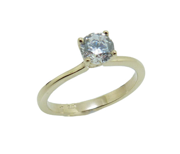 14K yellow gold solitaire engagement ring set with a round 0.50 carat CZ. Priced without a center gemstone. Let us find you the perfect center that fits your tastes and budget!