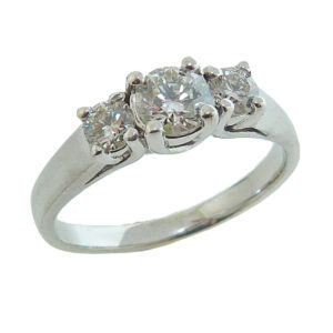 14K White gold three stone engagement ring claw set with 0.34 carat H, I1 excellent cut, round brilliant cut diamond and two I, SI2 excellent cut, round brilliant cut diamonds totaling 0.282 carats.