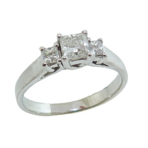 14K White gold engagement ring claw set with a 0.40ct, H, VS1 Firemark princess cut diamond and accented with 2 princess cut diamonds, 0.158cttw, G/H, VS2-SI1.
