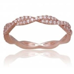 14K Rose gold twist diamond lady's band, micro-claw set with 46 very good cut, round brilliant cut diamonds, totalling 0.26 carat, G-H, VS-SI.