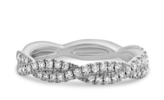 14K White gold twist diamond lady's band, micro-claw set with 46 very good cut, round brilliant cut diamonds, totaling 0.25 carat, G-H, VS-SI.