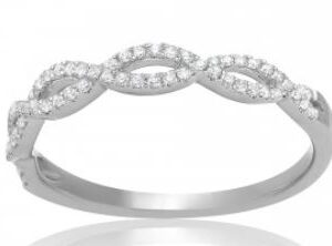 14K white gold open twisted diamond band, micro-claw set with 63 G-H VS-SI very good cut round brilliant cut diamonds totaling 0.18 carats. size 6.50