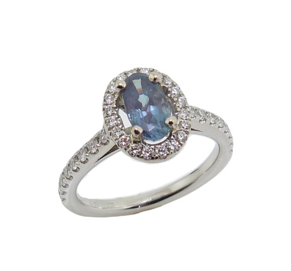 19 karat white gold halo style ring set with a 0.79ct Alexandrite and accented with 0.32cttw G/H, SI1-2, very good cut, round brilliant cut diamonds. Alexandrite is the birthstone for June.