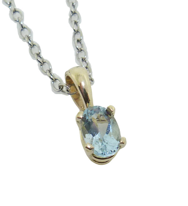 14 yellow gold halo pendant set with a 0.40ct aquamarine. Aquamarine is the birthstone for March.