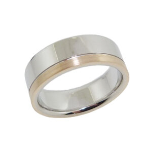 14K Yellow and white flat men's 7.5mm band with stainless and polish finishes.