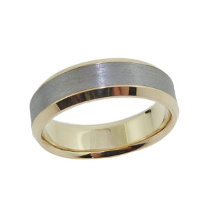 14K Yellow gold and tantalum men's band with beveled polished edges and stainless texture on centre.