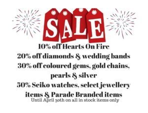 Sale! Up to 50% off in-stock jewellery until April 30th, 2021