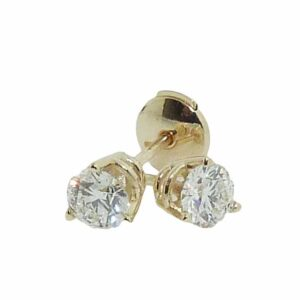 14K Yellow gold 3 prong stud earrings with locking backs set with 0.377 carat J SI1 and 0.357 carat J SI1 ideal cut round brilliant cut diamonds.