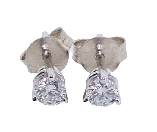 14K White 3 prong stud earrings set with 2 ideal cut Hearts On Fire diamonds: 0.248ct I, SI1 & 0.248ct I, SI1.