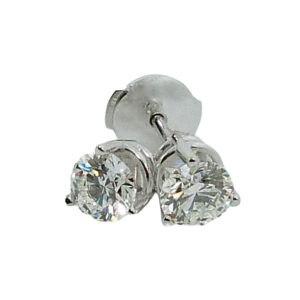 14K White gold 3 prong stud earrings with locking backs set with 0.373ct I, VS1 and 0.375ct I, VS1 ideal cut round brilliant cut diamonds by Hearts On Fire .