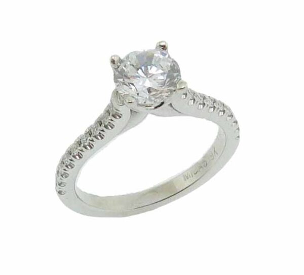 19K white gold solitaire engagement ring mounting. This ring mounting is set with 18 = 0.20cttw G/H, SI1 round brilliant cut diamonds.