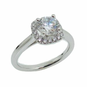 19K white gold halo style engagement ring set with a 1 carat CZ and 18 round brilliant cut diamonds, 0.17 total carat weight, G/H, SI1.