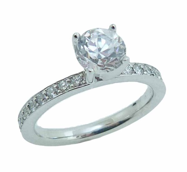 14K white gold solitaire engagement ring mounting. This ring mounting is set with 22 = 0.33cttw G/H, SI1 round brilliant cut diamonds.