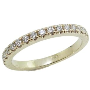 14K Yellow gold claw set lady's diamond band set with 17 round brilliant cut diamonds, 0.26cttw, G/H, VS-SI.