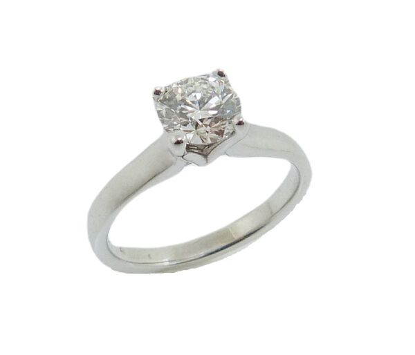 14K White gold solitaire engagement ring set with an ideal, round brilliant cut Hearts On Fire diamond, 0.853, H, VVS2.