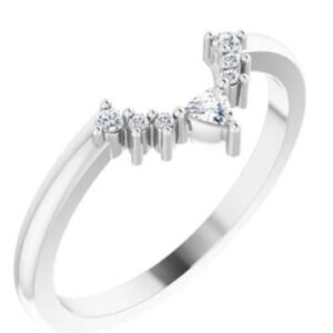 14K White gold diamond contour band set with one trillion and six round brilliant cut diamonds, totalling 0.10 carats, G-H, SI1-2.