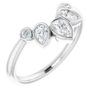 14K White Gold diamond contoured band set with three pear shaped diamonds and two round brilliant cut diamonds, totalling 0.37 carats, G-H, SI1.