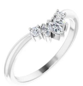14K White gold diamond contour band set with three marquise shaped diamonds and two round brilliant cut diamonds totalling, 0.20 carats, G-H, SI1-2.
