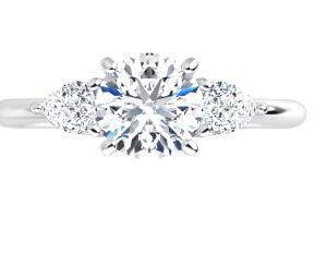 14K White gold three stone engagement ring claw set a 0.60ct cubic zirconia in the center, 2 = 0.25cttw G, SI1-2 pear cut diamonds.