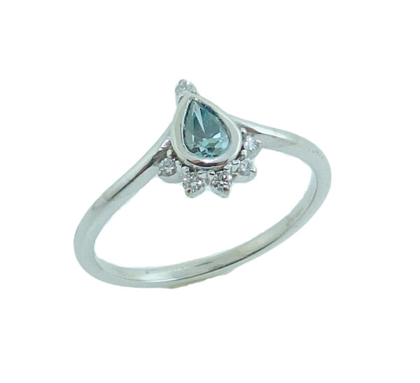 14K White gold engagement ring bezel set with pear shape 0.226ct blue diamond and accented with 6 single prong set round brilliant cut diamonds, 0.10 total carat weight, H, SI.