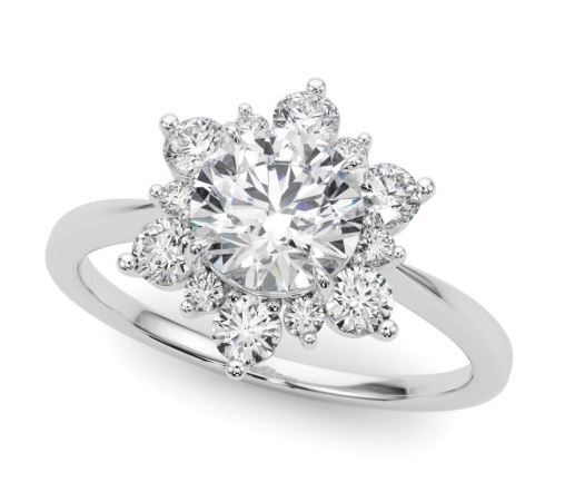 14 karat white gold floral style halo engagement ring featuring 0.255ctw excellent cut G/H, SI round brilliant cut diamonds.