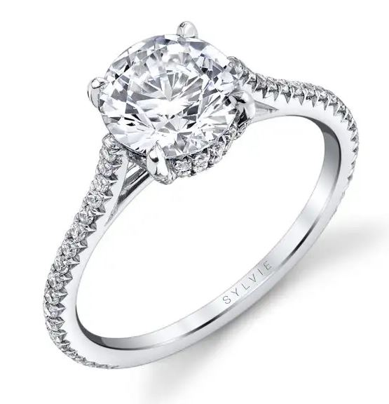 """14K White gold Sylvie Collection """"Valencia"""" double hidden halo engagement ring set in the centre with a 0.75ct CZ and accented with 0.32cttw round brilliant cut diamonds, G/H, VS-SI. This ring has a matching wedding band. This ring is available with a round or cushion shaped halo and in 14 or 18K white, yellow and rose gold as well as platinum. Priced without a center gemstone. Let us find you the perfect center that fits your tastes and budget!"""