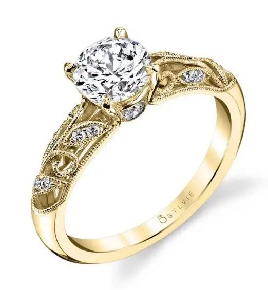 14K yellow gold royal vintage inspired engagement ring by Sylvie Collection featuring 0.12ctw G/H, VS-SI round brilliant cut diamonds.