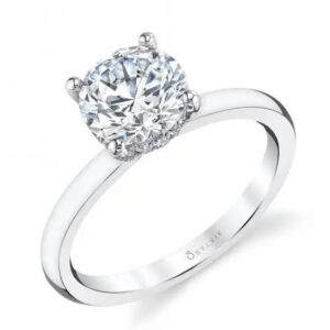 14K white gold solitaire Joanna engagement ring by Sylvie Collection featuring a hidden halo of 0.12ctw G/H, VS-SI round brilliant cut diamonds.
