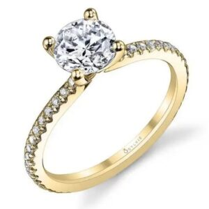 14K yellow gold Adorlee solitaire engagement ring by Sylvie Collection featuring 0.21ctw G/H, VS-SI round brilliant cut diamonds. This ring has a matching wedding band.