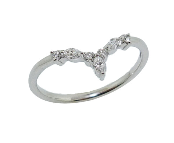 14K White gold contoured diamond wedding band to match 200-70-7897656 single prong set with 7 round brilliant cut and marquis diamonds, 0.12cttw, H, SI1-2.