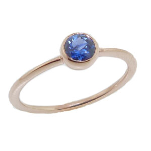 14K Rose gold bezel set 0.369 carat blue sapphire lady's ring. Band to match is 225-70-98755.