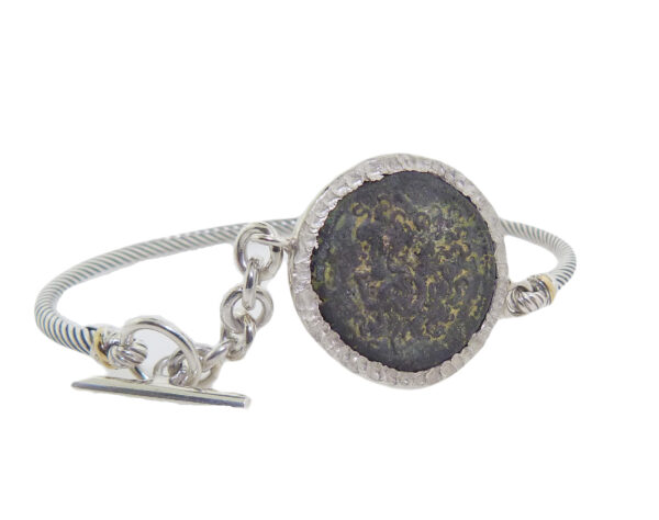 Silver bracelet bezel set with ancient bronze Egyptian coin showing head of Zeus and on reverse eagle standing Ptolemy VI 173-171BC (Philometor & Eulcaeus).