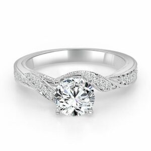 14K White gold Frederic Sage engagement ring set with 1.0ct CZ centre and accented on the twisted milgrain band with 46 pave set round brilliant cut diamonds, 0.31 total carat weight. Priced without a center gemstone. Let us find you the perfect center that fits your tastes and budget!