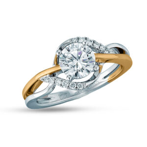 14K White and Rose gold Frederic Sage halo engagement ring set with 0.75ct CZ and accented on the halo with 12 claw set round brilliant cut diamonds, 0.10cttw. Priced without a center gemstone. Let us find you the perfect center that fits your tastes and budget!