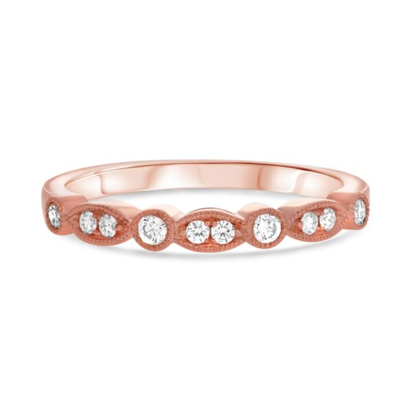 14K rose gold band pave set with 10 = 0.17cttw G/H/I, VS-SI round brilliant cut diamonds.