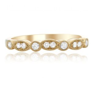 14K yellow gold band pave and bezel set with 10 = 0.17cttw G/H/I, VS-SI round brilliant cut diamonds.
