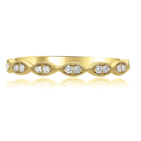 14K yellow gold band pave set with 14 = 0.11cttw G/H/I, SI round brilliant cut diamonds. This ring features beautiful milgrain engraving. This band is also available in white and rose gold.