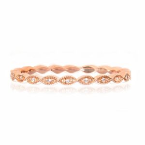 14K rose gold band pave set with 11 = 0.03cttw G/H/I, SI round brilliant cut diamonds.