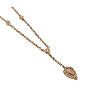 14K rose gold diamond necklace with 20 diamonds set into a drop pear shape halo and 3 bezel set diamonds, total carat weight, 0.15, GHI, S1.