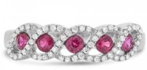 14K white gold ring set with five rubies totaling 0.40 carats and 60 = 0.19cttw round brilliant cut diamonds.