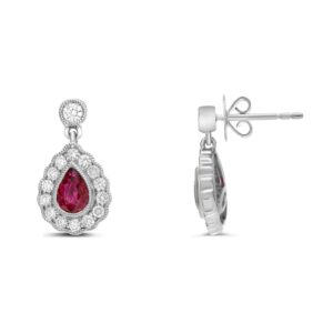 14K white gold drop earrings set with 2 = 0.78cttw pear cut rubies accented with 30 = 0.46cttw round brilliant cut diamonds.